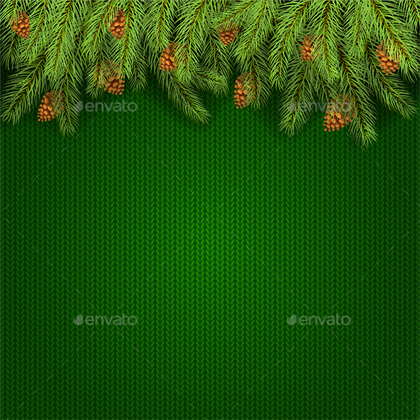 Christmas Green Knitted Background and Fir Tree Branches - Christmas Seasons/Holidays
