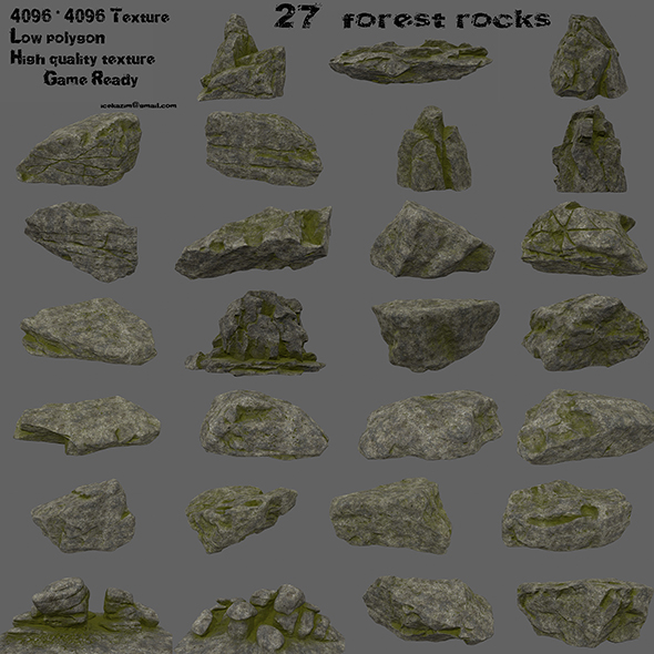 3DOcean forest rocks set 21126125