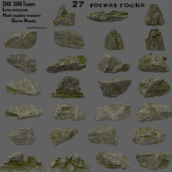 3DOcean forest rocks set 2 21126232