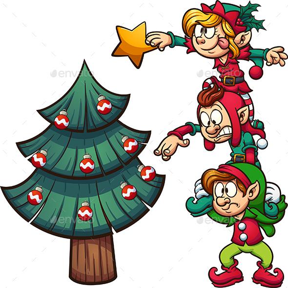GraphicRiver Elves Decorating Christmas Tree 21126385