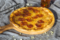 Hot Homemade Pepperoni Pizza Ready to Eat anf olive oil - PhotoDune Item for Sale