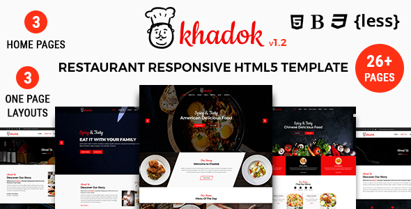 Khadok Restaurant - Restaurant Responsive HTML5 Template - Restaurants & Cafes Entertainment