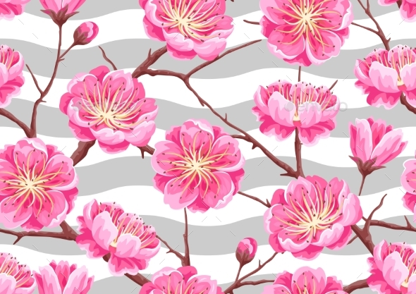Seamless Pattern with Sakura or Cherry Blossom - Flowers & Plants Nature