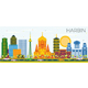 Harbin China Skyline with Color Buildings and Blue Sky. - GraphicRiver Item for Sale