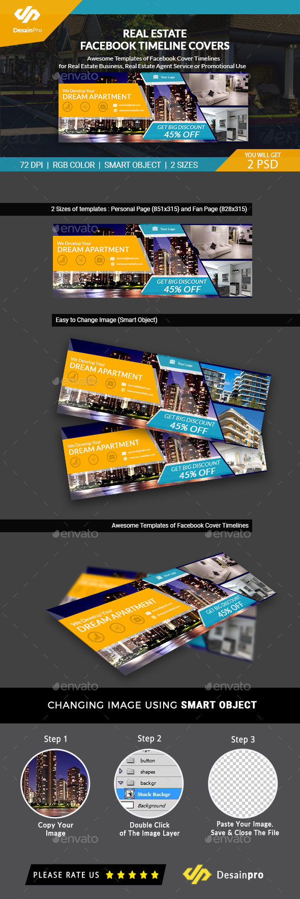 Real Estate FB Cover Timeline Template - AR - Facebook Timeline Covers Social Media