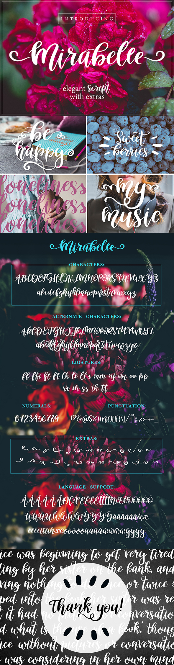 GraphicRiver Mirabelle Script Font with Extras 21127026