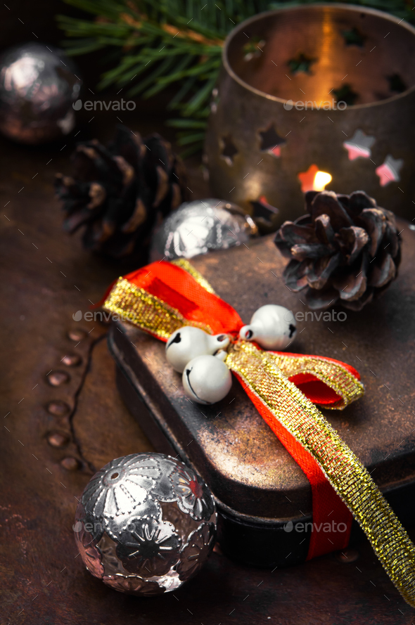 retro christmas decorations with christmas - Stock Photo - Images