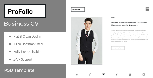 ThemeForest ProFolio Business CV PSD Template 21127095
