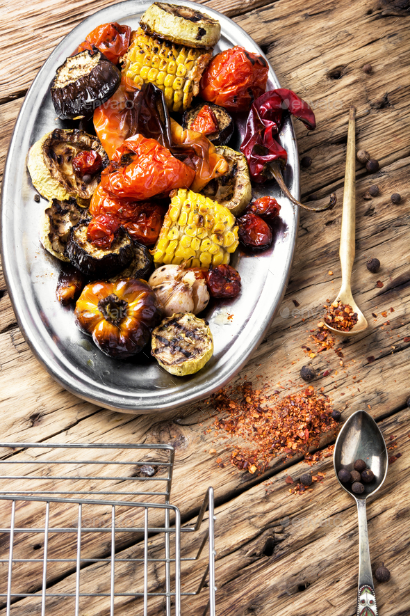 metal plate with grilled vegetables - Stock Photo - Images