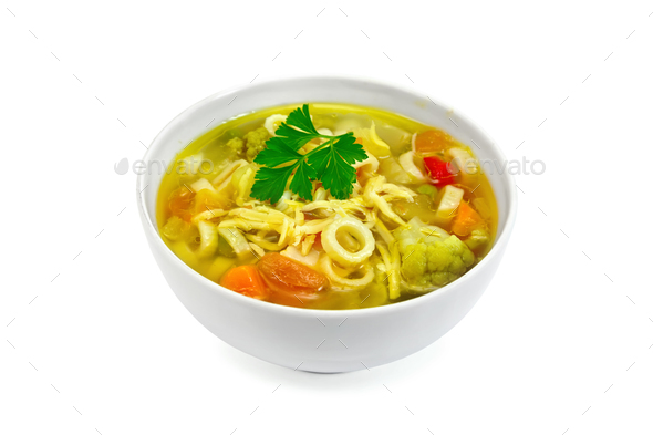 Soup Minestrone in white bowl with parsley - Stock Photo - Images