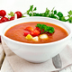 Soup tomato in white bowl with vegetables - PhotoDune Item for Sale
