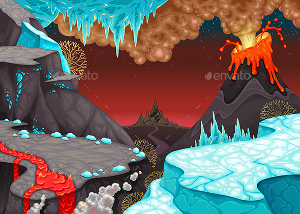 GraphicRiver Prehistoric Landscape with Fire and Ice 21127246