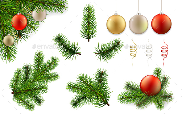 GraphicRiver Christmas Branch and Ball Set 21114224