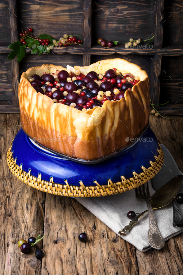 rustic summer pie with berries - Stock Photo - Images