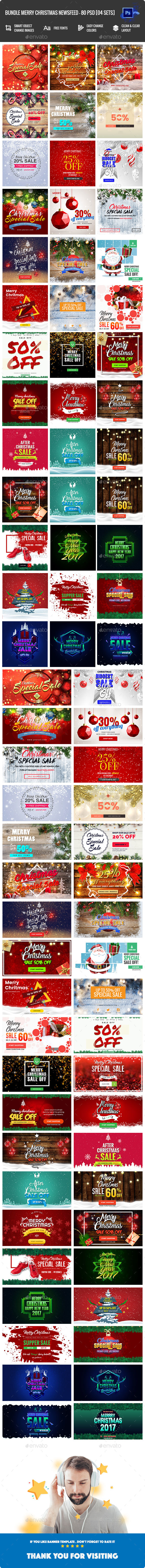 GraphicRiver Bundle Merry Christmas NewsFeed Banners Ad 80 PSD [04 Sets] 21126513