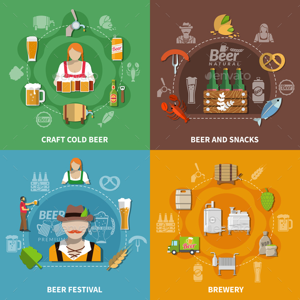 GraphicRiver Beer Flat 2x2 Set 21127412