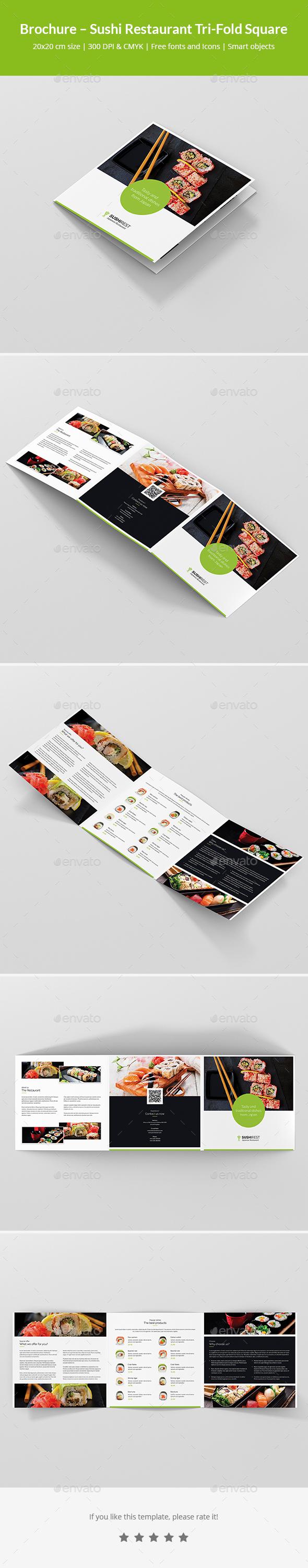 GraphicRiver Brochure Sushi Restaurant Tri-Fold Square 21127444