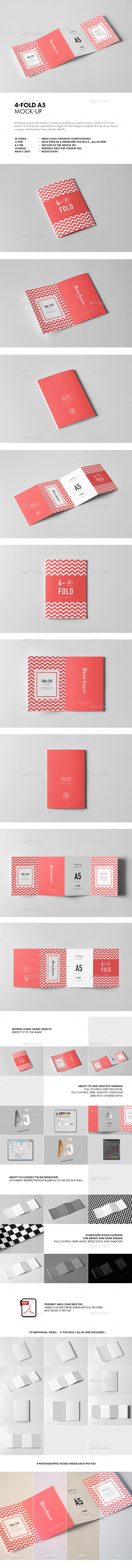 GraphicRiver Four-Fold A5 Brochure Mock-up 21127458