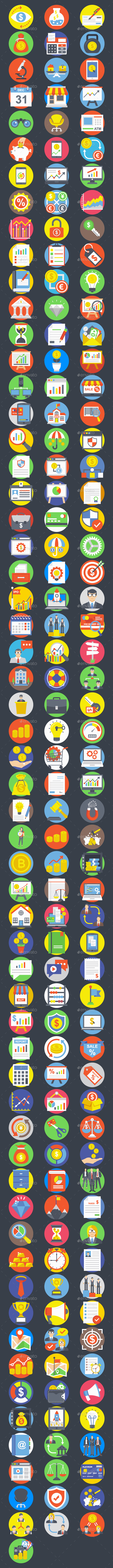 175 Flat Business Icons Set - Icons