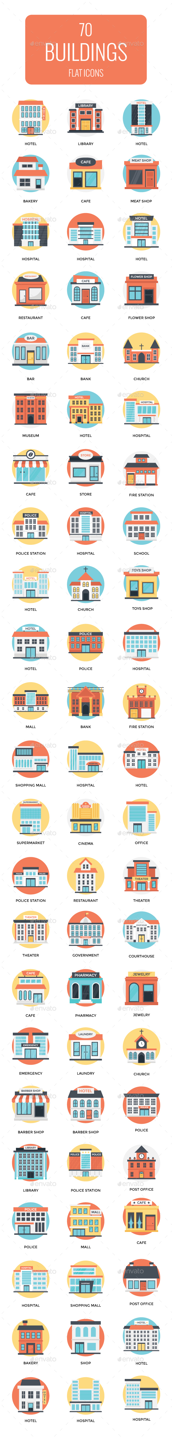 70 Flat Icons Set of Buildings - Icons