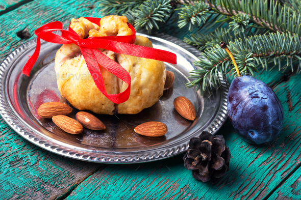 Xmas baked with plum - Stock Photo - Images