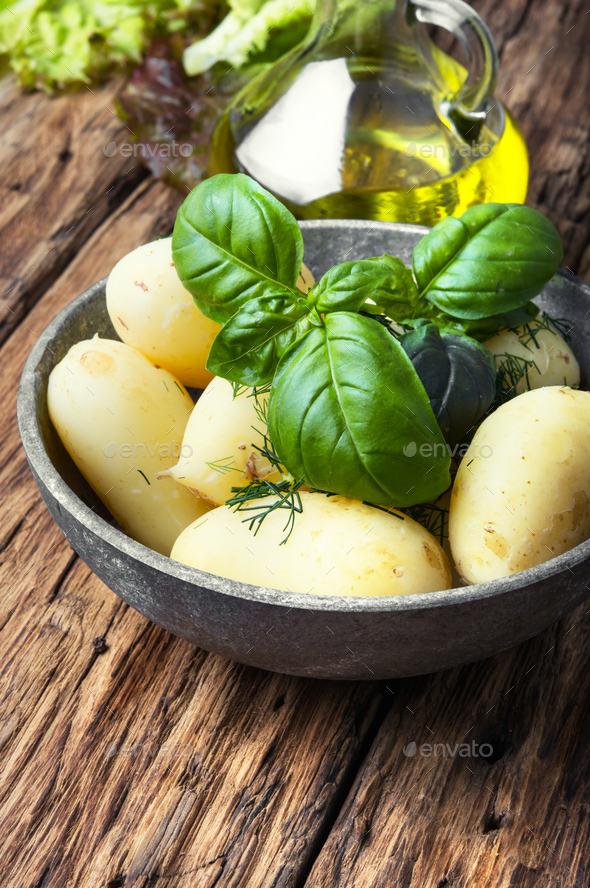 rustic boiled potatoes - Stock Photo - Images
