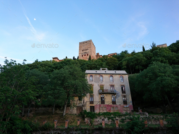 "Views of the old  ""Hotel of the woods"" and the Alhambra at sunset - Stock Photo - Images"