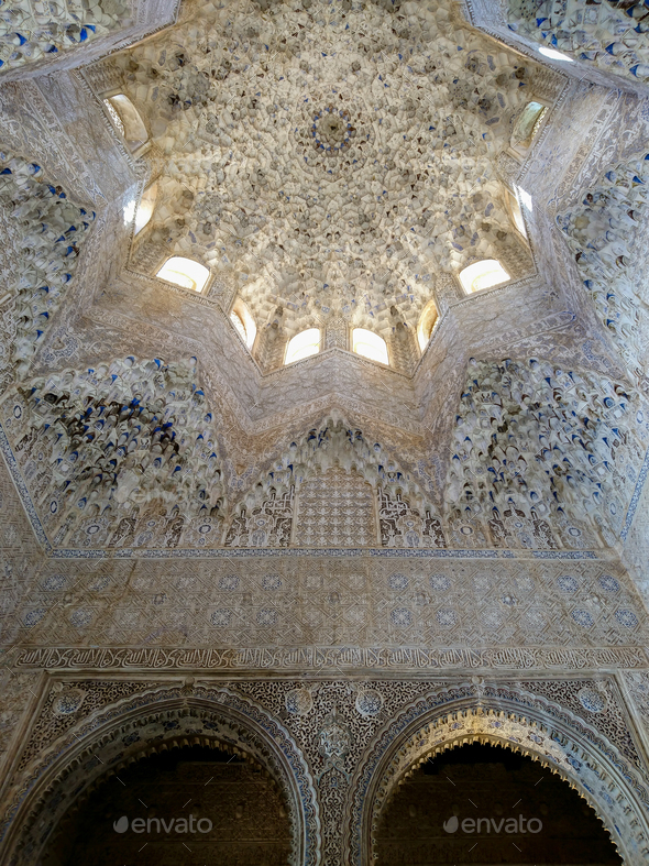 Roof inside a Nasrid Palace in the Alhambra - Stock Photo - Images