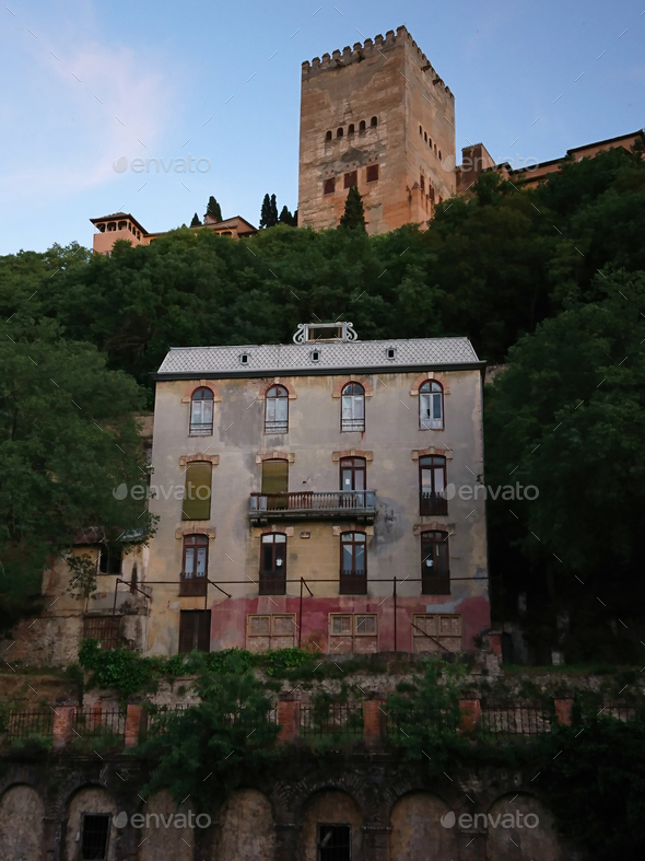 """Views of the old  """"Hotel of the woods"""" and the Alhambra at sunset - Stock Photo - Images"""