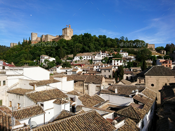 Views of the Alhambra from the streets of the Albayzin neighborhood - Stock Photo - Images