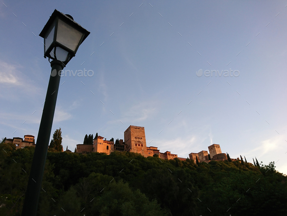 Views of the Alhambra at sunset - Stock Photo - Images