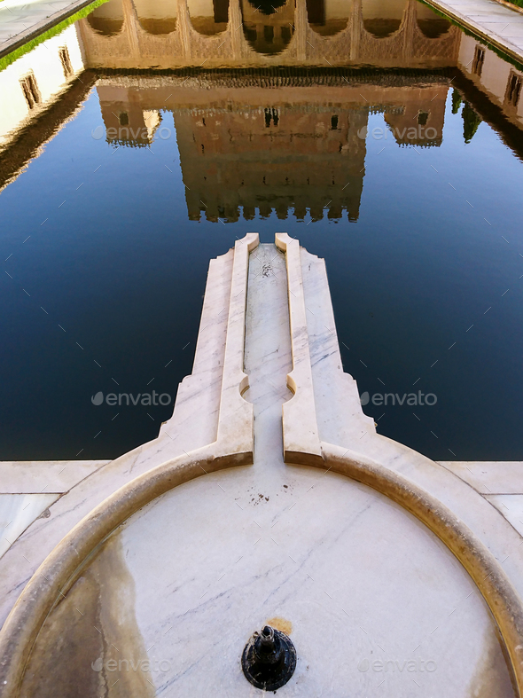 Reflection of the Comares Palace - Stock Photo - Images