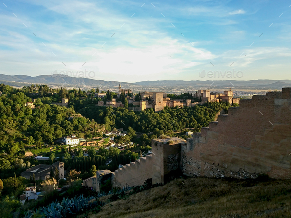 Views of the Generalife from the walls of Granada - Stock Photo - Images