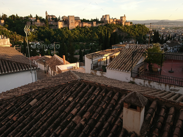 Views of the Alhambra from the streets of the Sacromonte neighborhood - Stock Photo - Images