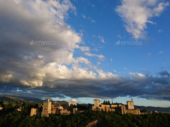 Dramatic views of the Alhambra - Stock Photo - Images