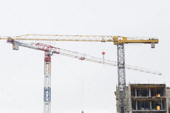 Crane is used in the construction - Stock Photo - Images