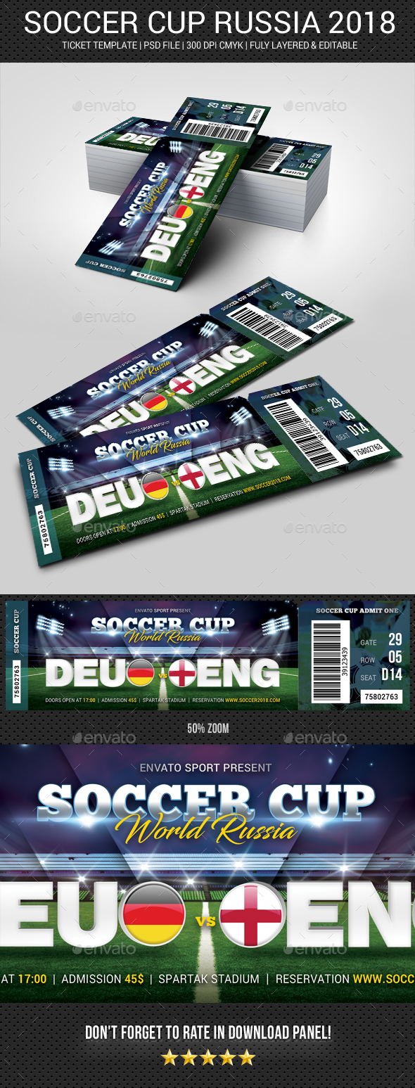 GraphicRiver World Soccer Cup Russia 2018 Ticket 21128345