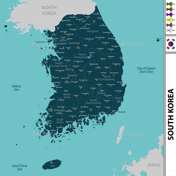GraphicRiver Map of South Korea 21128562