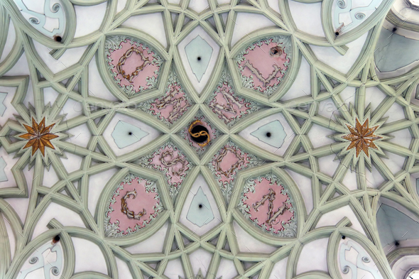 Gothic vault of the ceiling - view from below - Stock Photo - Images