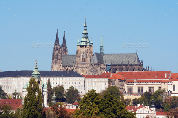 Prague castle and cathedral - Stock Photo - Images