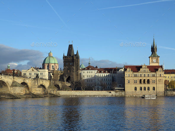 Prague - The Charles bridge and Novotneho footbridge - Stock Photo - Images