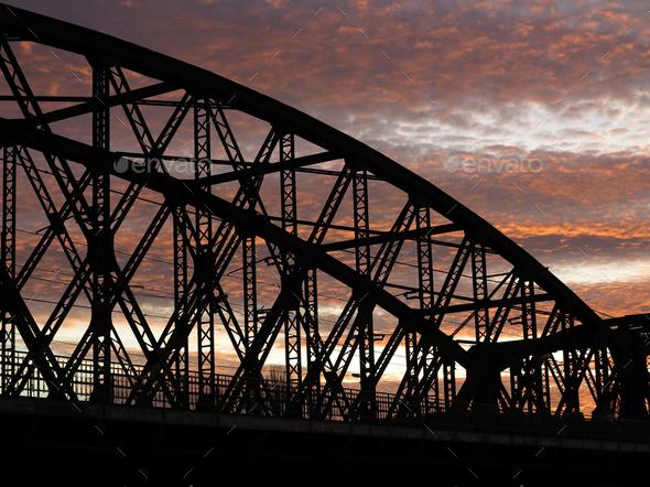 Railway bridge in sunset - Stock Photo - Images