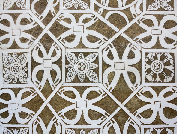 Sgraffito - Renaissance decoration of plaster - Stock Photo - Images