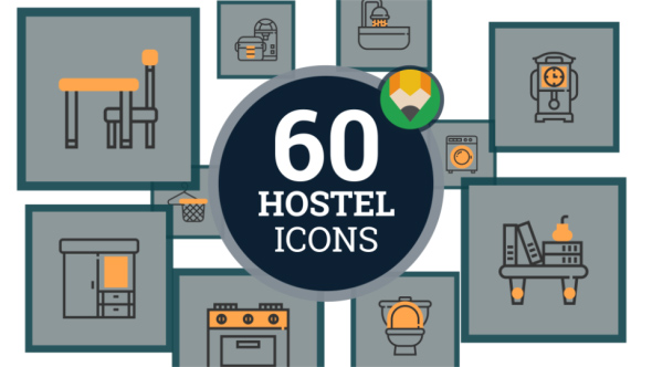 VideoHive Hostel Icon Pack Hotel Flat Icons 21128822