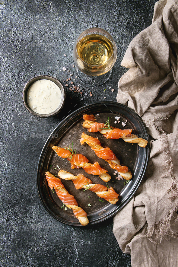 Appetizer with smoked salmon - Stock Photo - Images