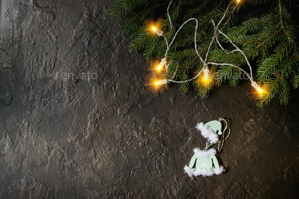 Christmas lights and toy - Stock Photo - Images