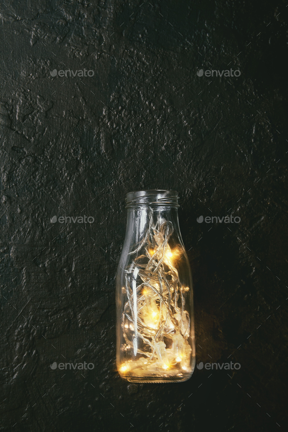 Christmas lights in bottle - Stock Photo - Images