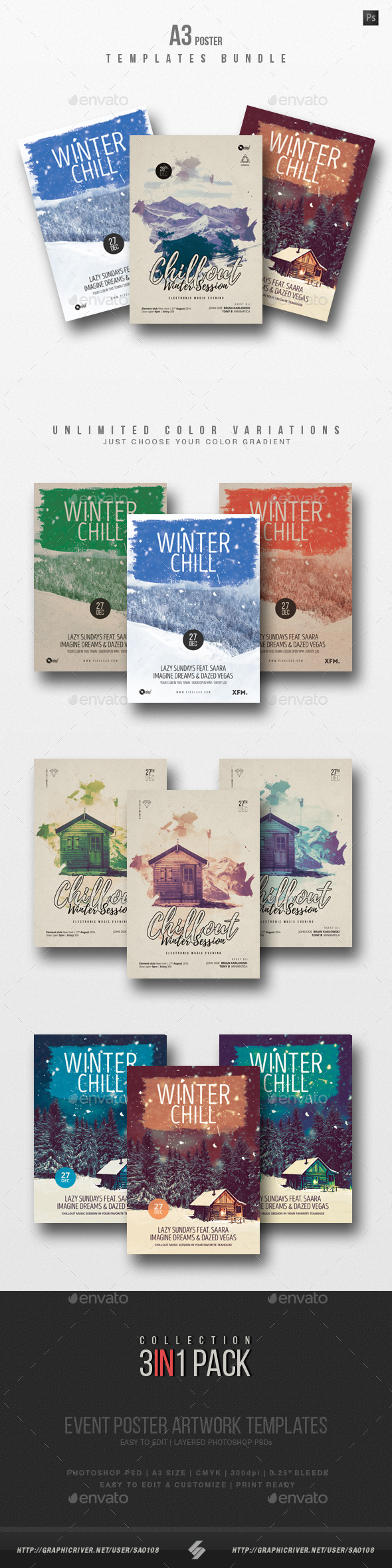 GraphicRiver Winter Chillout Party Flyer Poster Templates Bundle A3 21129052