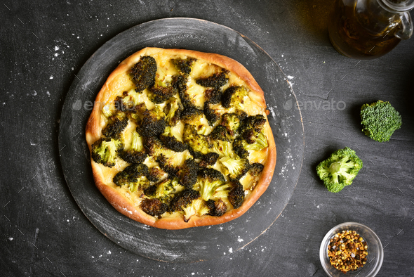 Pizza with broccoli, top view - Stock Photo - Images
