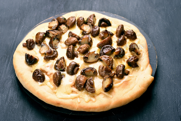 Pizza with mushrooms - Stock Photo - Images